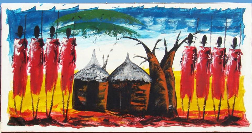 aldea pintura Tinga Tinga Tanzania 01