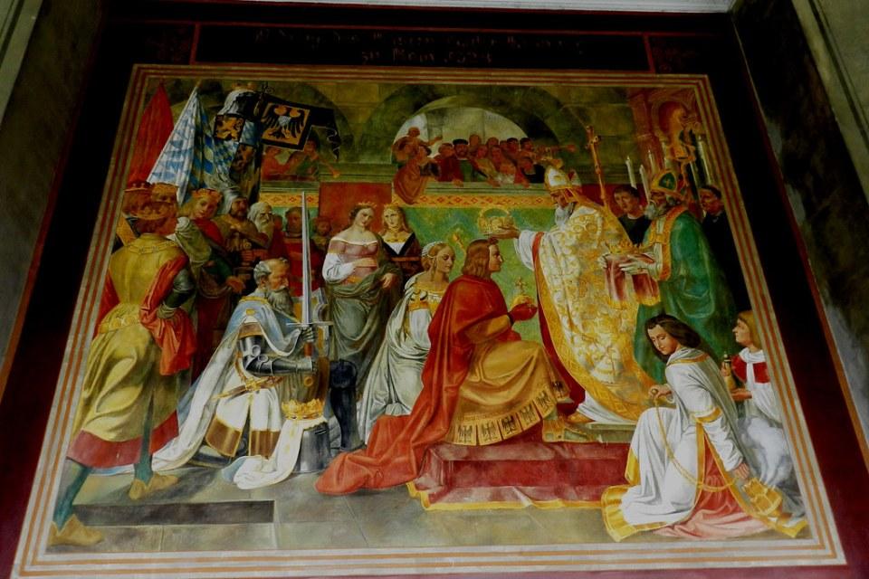 Pintura mural al fresco escenas de la historia de Baviera pintores de la Escuela Cornelius Ernst Förster (1826-1829) en arcadas o pórtico del patio del jardín Hofgarten Múnich Alemania 12