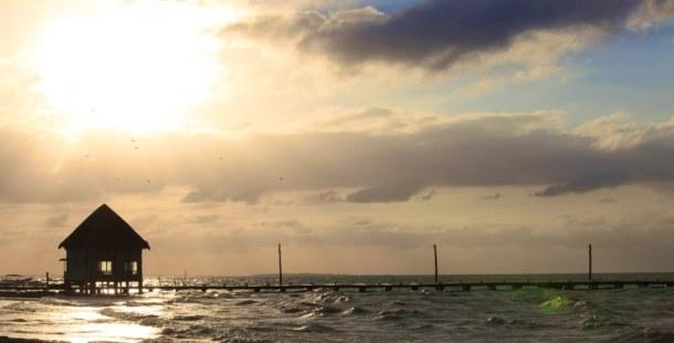 Holbox beach house at sunset