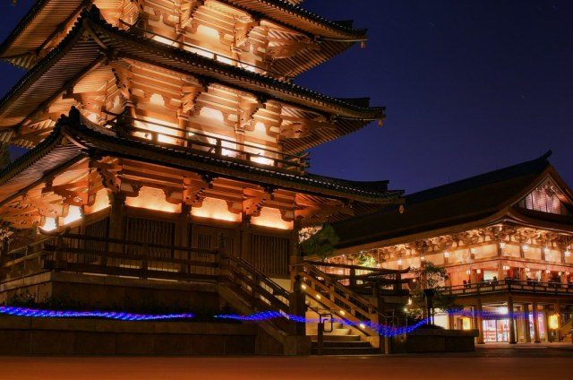 Japanese Pagodas at Night
