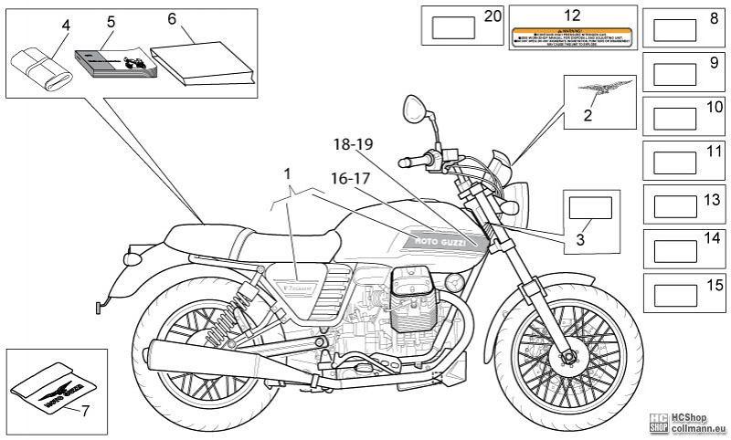 Foto Nr. 1: Moto Guzzi Abziehb. + Schilder V7 Classic 750