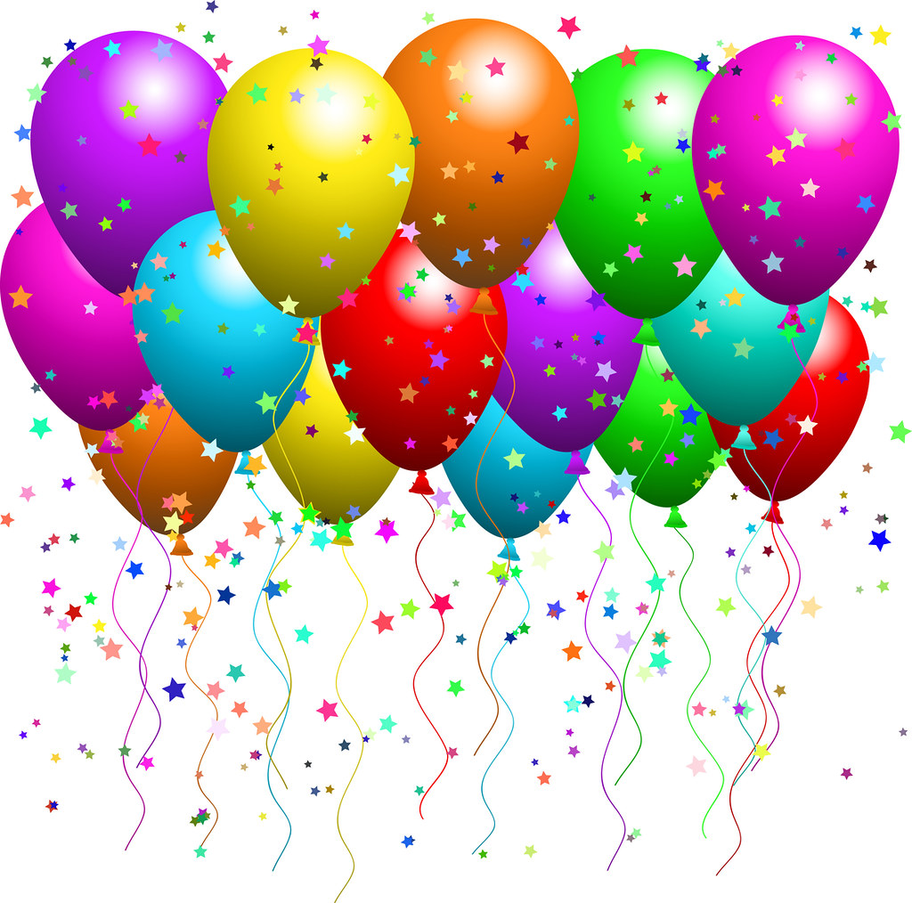 hight resolution of  clipart illustration of a bunch of floating party balloons with confetti at a party by
