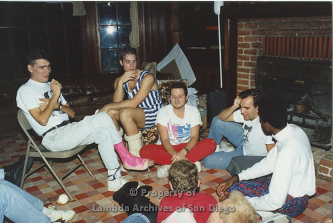 P001.207m.r.t Retreat 1991: group of men sitting around in a circle