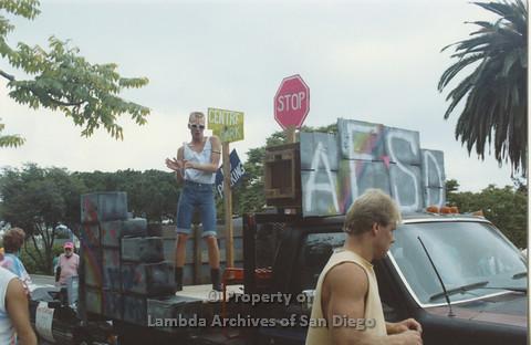 P001.036m.r Pride 1991: AIDS Foundation San Diego Parade Float