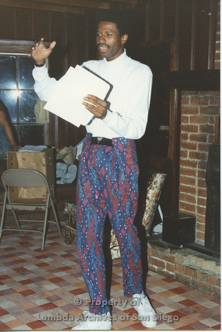 P001.197m.r.t Retreat 1991: man in patterened pants speaking