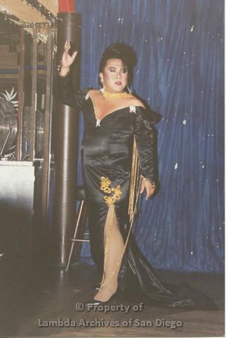 P001.249m.r.t Through The Years Fundraiser: drag queen wearing a black dress