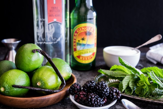 fresh fruit, mint, and a real vanilla bean