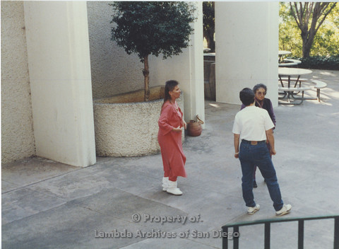 P024.046m.r.t LCCA: Left to right- Jo-Elyn Nourie, Muriel Fisher, Unknown, in white shirt. Outside SDSU