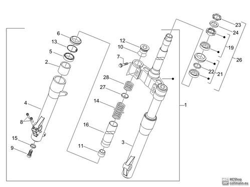 Foto Nr. 1: Piaggio Gabel/Lenkerleitung Carnaby 125 Ersatz