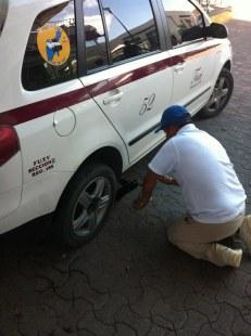 Taxi flat tire