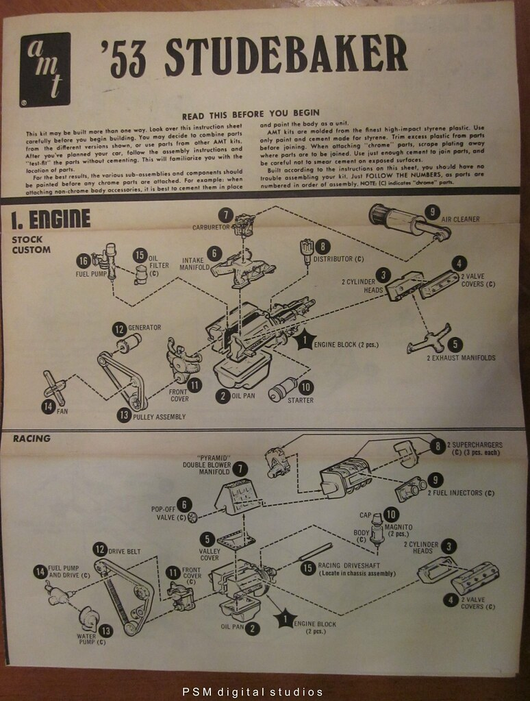medium resolution of  1953 studebaker loewy coupe instructions sheet double whammy amt kit by pmadsidney