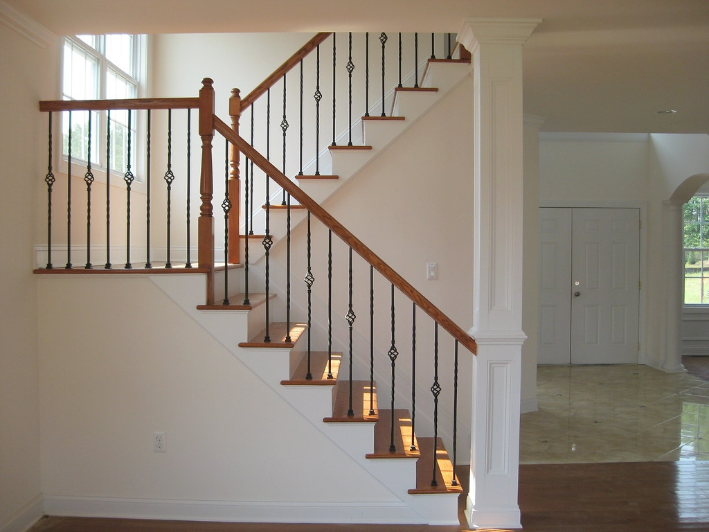 Second Floor Stairs Oak Stained Stairs With Metal Baluster… Flickr   Second Floor Stairs Design   Tree Trunk   Elegant   3Rd Floor   Creative   Tight Space