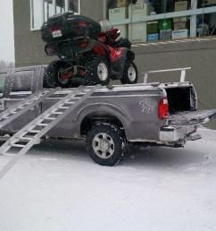 loading atvs on atv truck rack on ford super duty by diamondback truck covers [ 960 x 960 Pixel ]