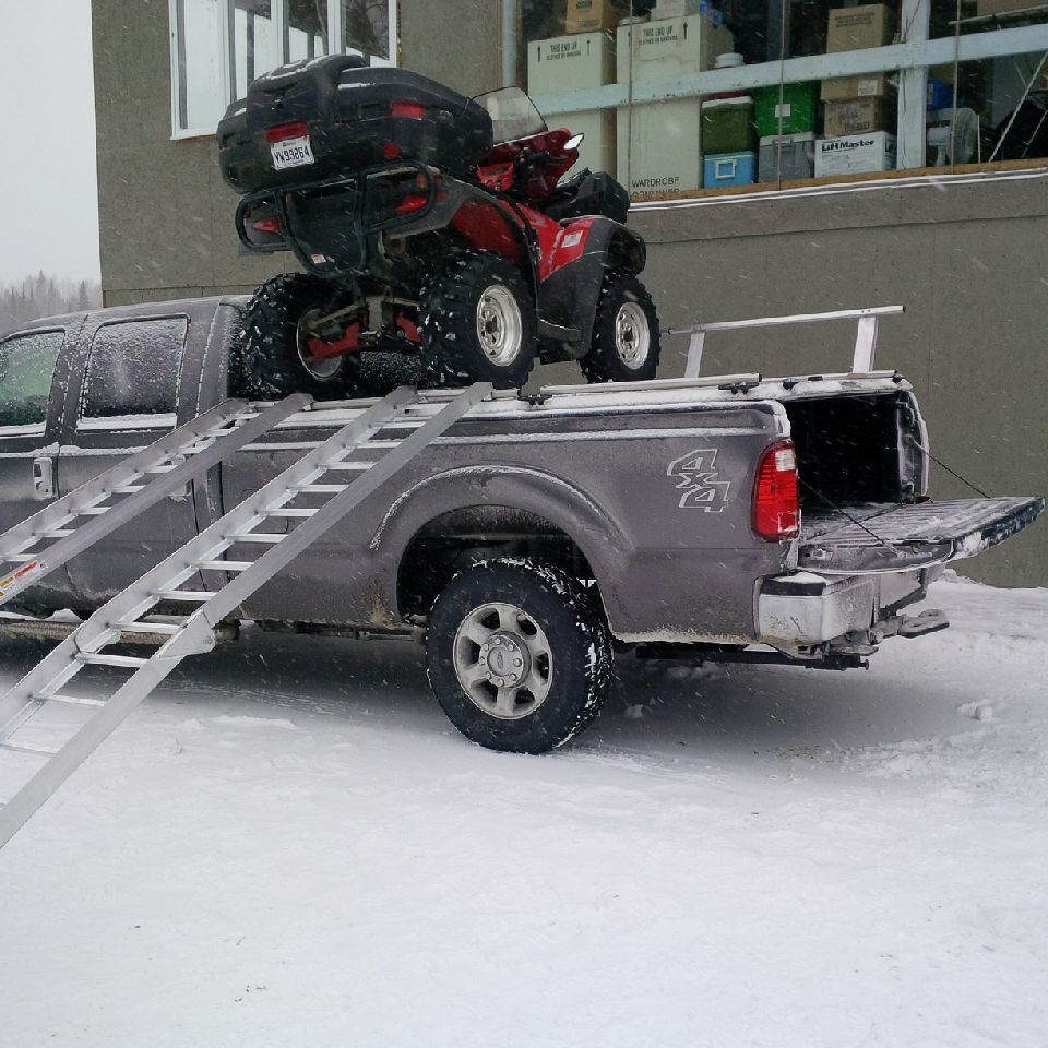 hight resolution of  loading atvs on atv truck rack on ford super duty by diamondback truck covers