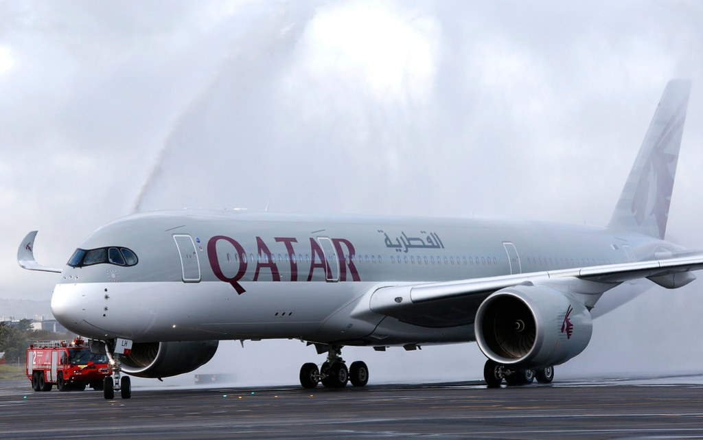 The first of Qatar Airways' daily A350 flights to and from Adelaide being greeted by the traditional water cannon salute at Adelaide Airport.