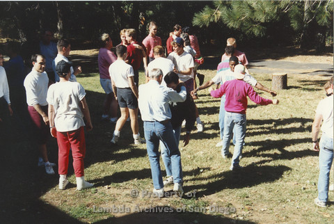 P001.229m.r.t Retreat 1991: men in organized activity outdoors