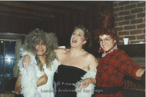 P001.217m.r.t Retreat 1991: 3 men in drag