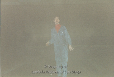 P001.138m.r.t Bowling 1991: woman in a jean jumpsuit