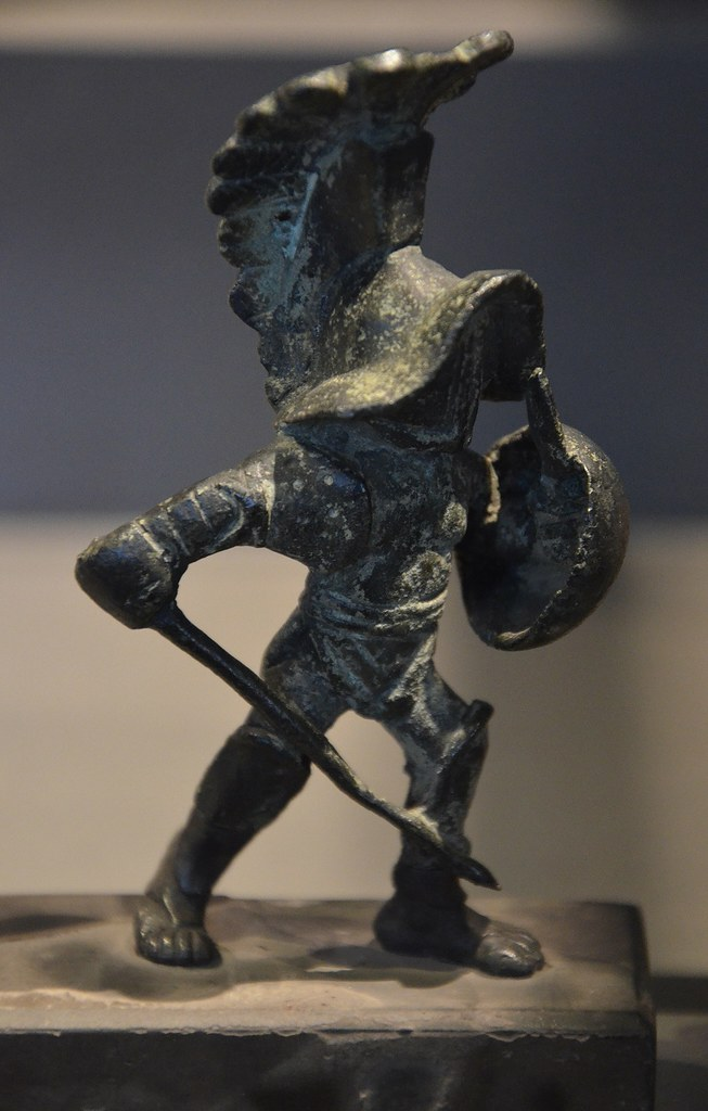 Bronze statuette of a hoplomachus a type of gladiator in
