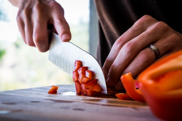 chopping the red pepper