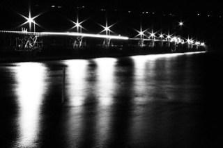 Long exposure, Hood River Bridge, Columbia River at night