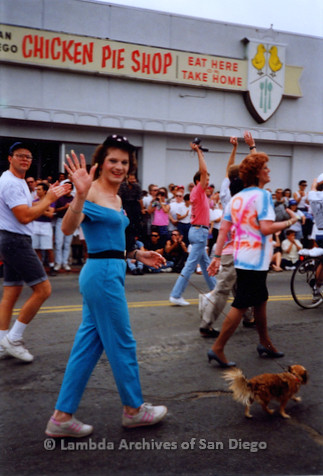 P018.063m.r.t San Diego Pride Parade 1991:  Men and women marching in parade