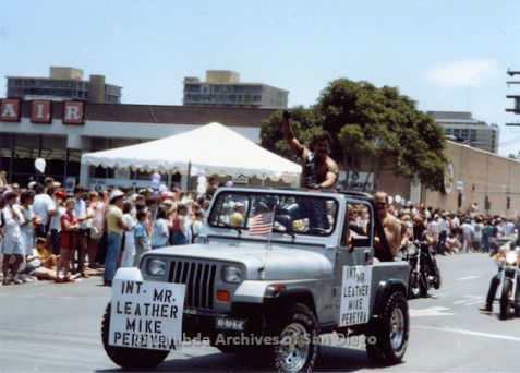 P018.036m.r.t San Diego Pride Parade 1988: Int. Mr. Leather Mike Pereyra's car