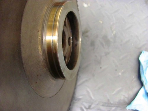 Single Groove Is Cut Into Flywheel Hub By Original White Rear Main Seal