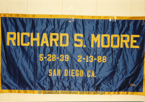 AIDS Quilt at San Diego Golden Hall,1988: quilt dedicated to Richard S. Moore