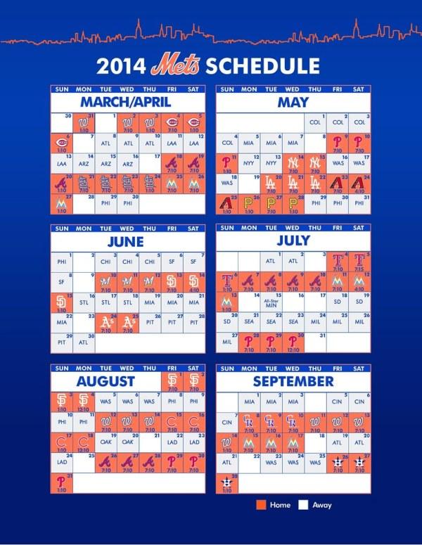 New York Mets 2014 Schedule Schedule design from their