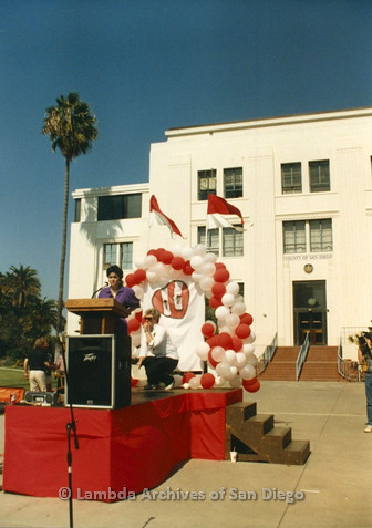 P012.006m.r.t San Diego Walks for Life 1986: Supervisor Susan Golding speaking at podium