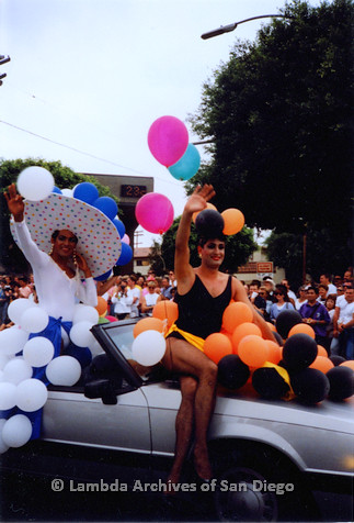 P018.076m.r.t San Diego Pride Parade 1991: Drag queens car