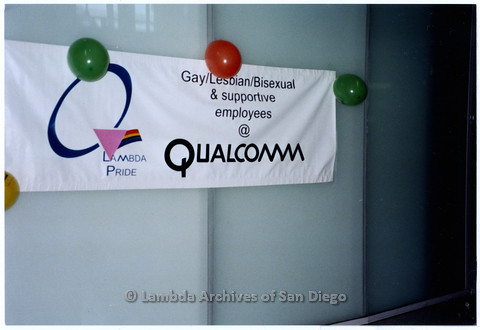 "P201.018m.r.t National Coming Out Day at Qualcomm: Banner on wall that reads: ""Lambda Pride - Gay/Lesbian/Bisexual & supportive employees at Qualcomm"""