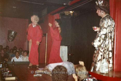 09/26/1982 - The Show Biz Female Impersonator Club on University Avenue in Hillcrest: Drag Performance Fundraiser for the Men's Center.
