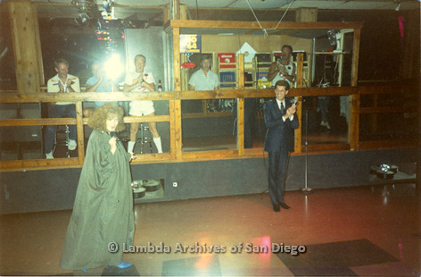 P116.017m.r.t San Diego Walks For Life 1986: After party at WCPC with Eileen Brennan performing and people clapping