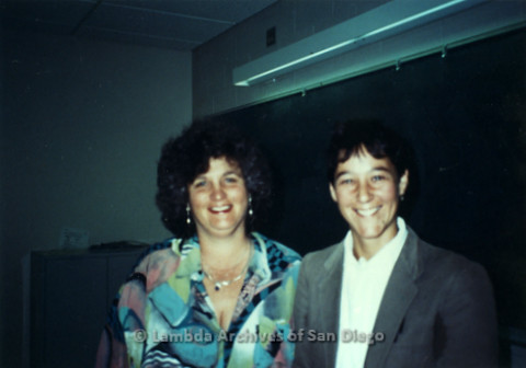 P231.001m.r.t Joan Nestle (left) with another woman at Lesbian Herstory Archive in New York
