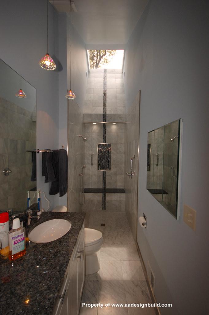 Long and Narrow Bathroom with skylight  This bathroom is