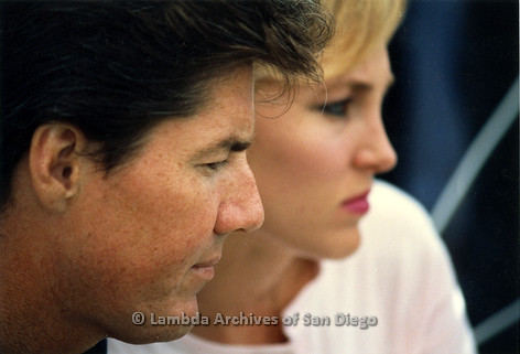 P116.012m.r.t San Diego Walks For Life 1986: Close up of news anchor Michael Tuck and woman