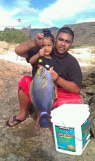 No worries dad I got it go catch your own huge Palani. Paka's girl.