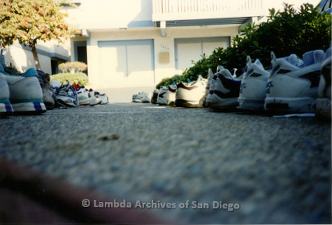 P263.025m.r.t Front Runners and Walkers of San Diego: Photo of shoes lined-up outside