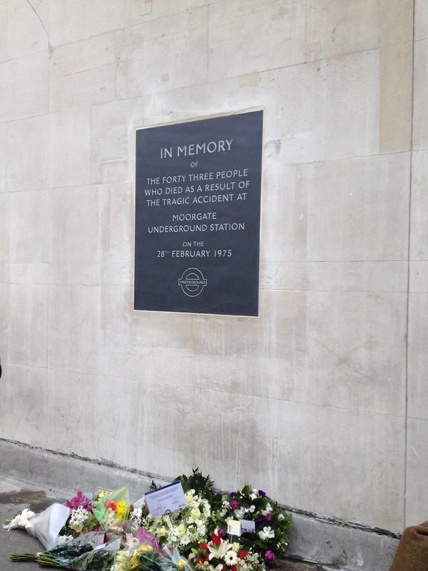 Moorgate train disaster plaque, Moorgate tube station, London - service of dedication, 28 February 2014