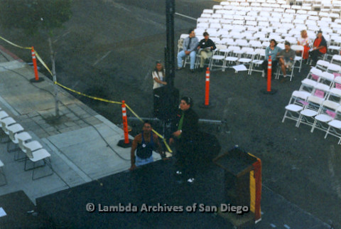 P234.051m.r.t SD Pride Rally: View from on top of Normal Street Center of stage being set up