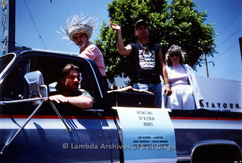 P018.045m.r.t San Diego Pride Parade 1989: International Gay & Lesbian Archives truck, Jim Kepner (Curator), Mike Manning Board Member), and Audrey Franklin (TV Producer)