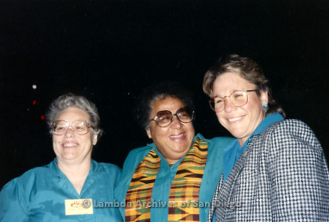 """""""The Magic Music Makes"""" San Diego Women's Chorus (SDWC) first choral festival with Sister Singers 1991: (left to right) SDWC business manager Peggy Heathers, Chorus Conductor Cynthia Lawrence Wallace, and pianist Deborah Morton."""