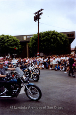 P018.062m.r.t San Diego Pride Parade 1991:  Motorcycle group in parade