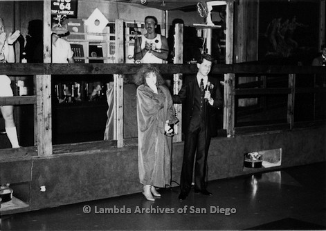 P116.046m.r.t San Diego Walks For Life 1986: Eileen Brennan and man with microphone at West Coast Production Company after party