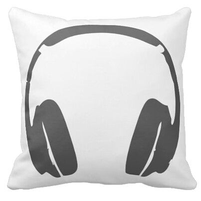 Headphones Pillow Grey  For the music lovers who want