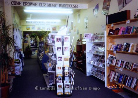 P167.020m.r.t Paradigm Women's Bookstore:Interior of bookstore music area