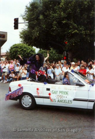 P018.081m.r.t San Diego Pride Parade 1991: Mr. & Miss Gay Pride Los Angles 1991 car