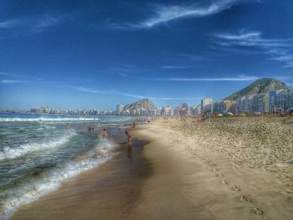 HDR effect picture of Copacabana beach in Rio de Janeiro Brazil